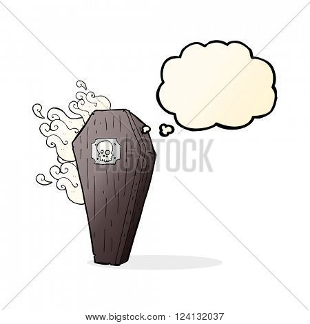 spooky cartoon coffin with thought bubble