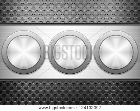 Buttons knob on metal background. Vector illustration.