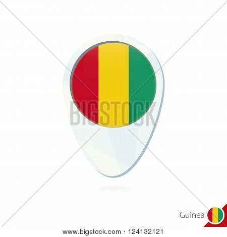 Guinea Flag Location Map Pin Icon On White Background.