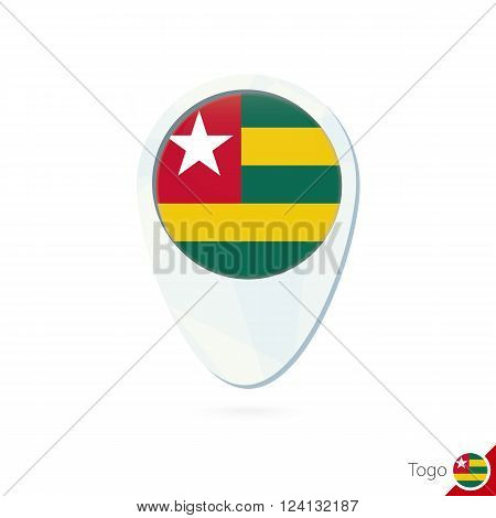 Togo Flag Location Map Pin Icon On White Background.