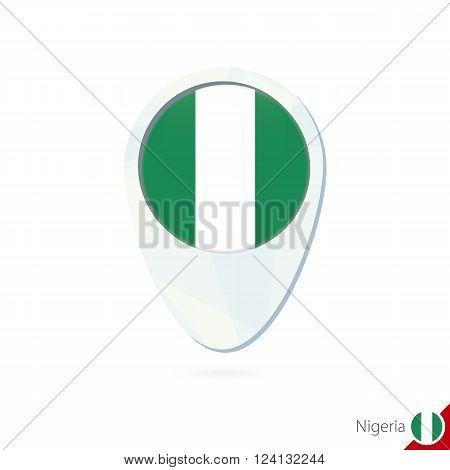 Nigeria Flag Location Map Pin Icon On White Background.