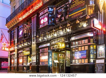 Paris France-March 25 2016 : The famous restaurant American Dream located 21 rue Daunou in 2th arrondissement in Paris near National Opera house.