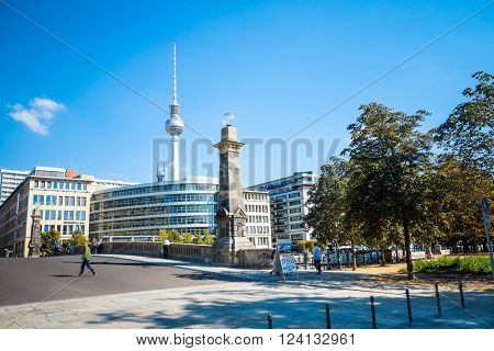 BERLIN, GERMANY- September 18: Tv tower or Fersehturm in Berlin on September 18, 2014. BERLIN, Germany.