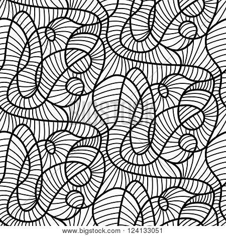 Abstract lines madness seamless vector pattern design