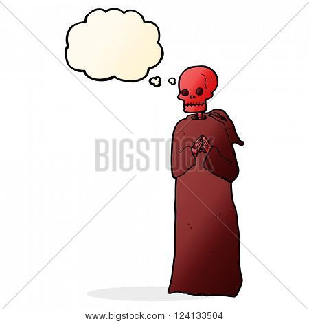 cartoon spooky skeleton in robe with thought bubble