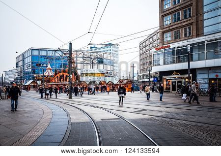 BERLIN - December 3: Typical Street view December 3, 2014 in Berlin, Germany. Berlin is the capital of Germany. With a population of approximately 3.5 million people.BERLIN, GERMANY