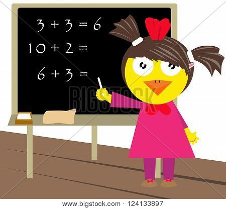 Little chicken counting and writing down the outcome on blackboard.