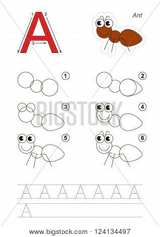 Zoo alphabet complete. Learn handwriting. Drawing tutorial for letter A