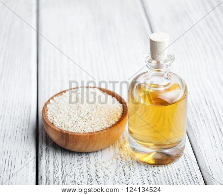 Sesame Seeds And Bottle With Oil