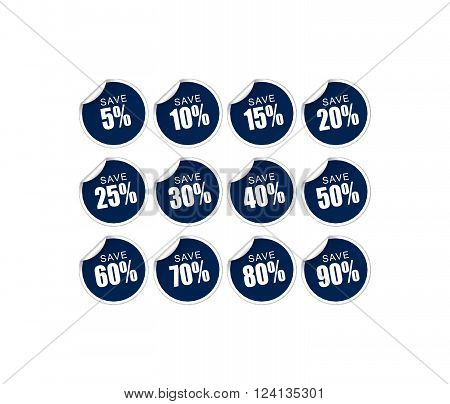 collection of blue discount stickers with turned over corner