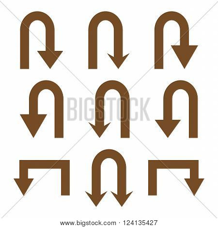 Turn Back Arrows vector icon set. Collection style is brown flat symbols on a white background. Turn Back Arrows icons.