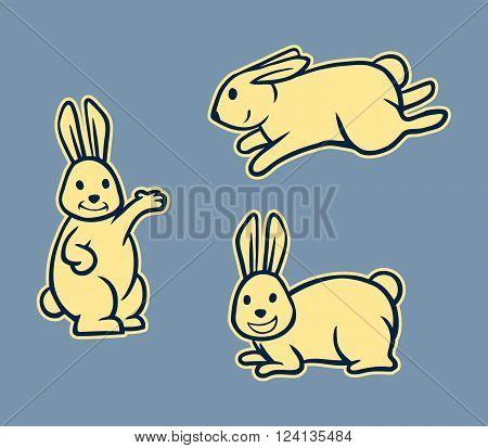 Vector illustration of rabbit retro line art set