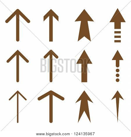 Up Arrows vector icon set. Collection style is brown flat symbols on a white background. Up Arrows icons.