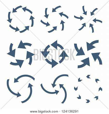 Cyclone Arrows vector icon set. Collection style is blue flat symbols on a white background. Cyclone Arrows icons.