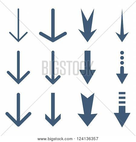 Down Arrows vector icon set. Collection style is blue flat symbols on a white background. Down Arrows icons.