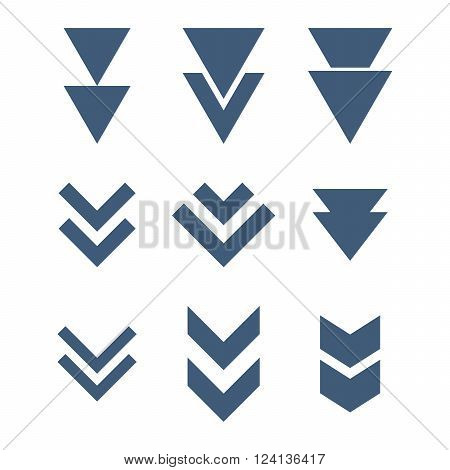 Down Direction vector icon set. Collection style is blue flat symbols on a white background. Down Direction icons.