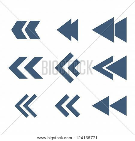 Left Direction vector icon set. Collection style is blue flat symbols on a white background. Left Direction icons.
