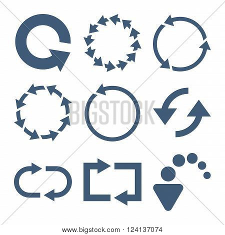 Rotate Arrows vector icon set. Collection style is blue flat symbols on a white background. Rotate Arrows icons.