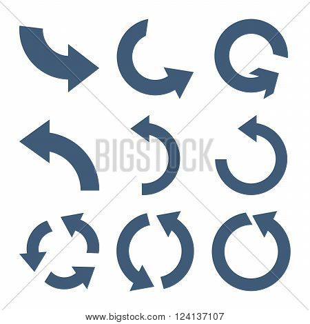 Rotate Counterclockwise vector icon set. Collection style is blue flat symbols on a white background. Rotate Counterclockwise icons.