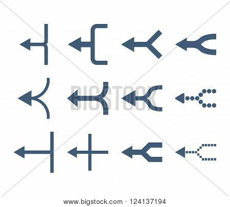 Unite Arrows Left vector icon set. Collection style is blue flat symbols on a white background. Unite Arrows Left icons.