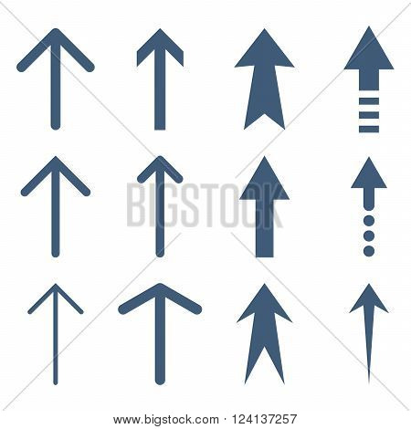 Up Arrows vector icon set. Collection style is blue flat symbols on a white background. Up Arrows icons.