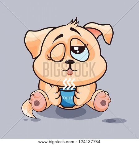Vector Stock Illustration isolated Emoji character cartoon dog just woke up with cup of coffee sticker emoticon for site, infographic, video, animation, websites, e-mails, newsletters, reports, comics