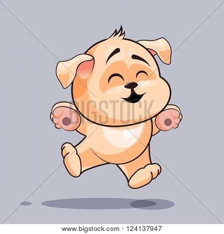 Vector Stock Illustration isolated Emoji character cartoon dog jumping for joy, happy sticker emoticon for site, infographics, video, animation, websites, e-mails, newsletters, reports, comics
