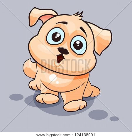 Vector Stock Illustration isolated Emoji character cartoon dog surprised with big eyes sticker emoticon for site, infographics, video, animation, websites, e-mails, newsletters, reports, comics