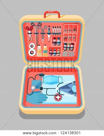 Set Stock vector illustration of medical supplies, drugs, pills, tools, clothing in medical suitcase in isometry flat style element for infographic, website, icon, games, motion design, video