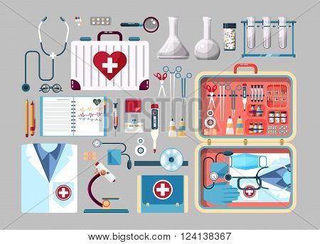 Set Stock vector illustration of medical supplies, drugs, pills, tools, clothing, medical suitcase in flat style element for infographic, website, icon, games, motion design, video