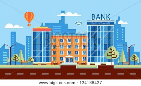 Stock vector illustration city street with multi-storey bank building, modern architectures, facade in flat style element for infographic, website, icon, games, motion design, video