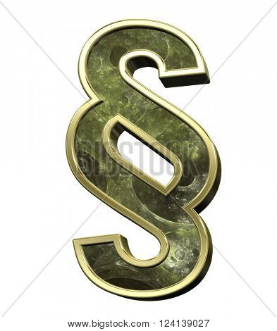 Paragraph sign from fractal alphabet set isolated over white. 3D illustration.
