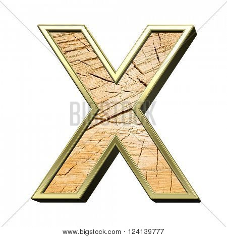 Letter from pine wood with gold frame alphabet set isolated over white. 3D illustration.