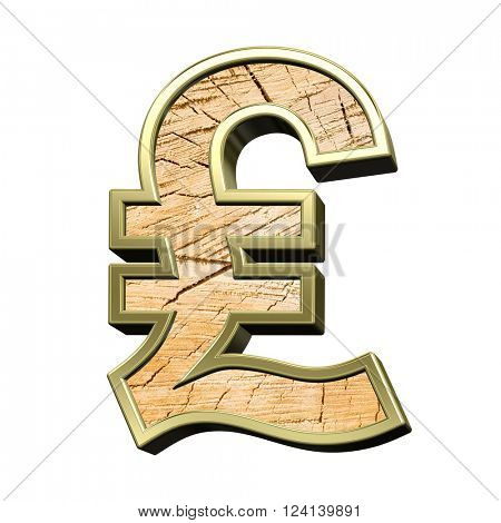 Pound sign from pine wood with gold frame alphabet set isolated over white. 3D illustration.