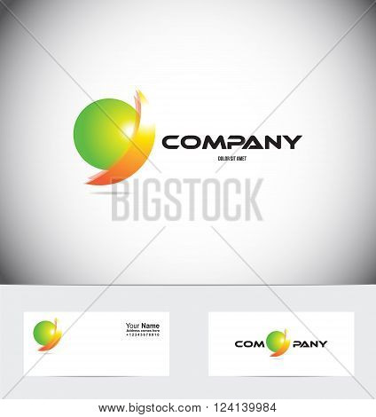 Vector company logo icon element template abstract sphere 3d orange green