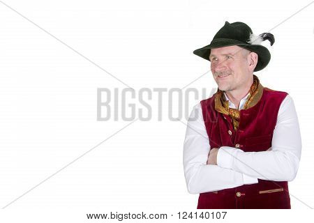isolated portrait of bavarian man in traditional clothes looking to the side