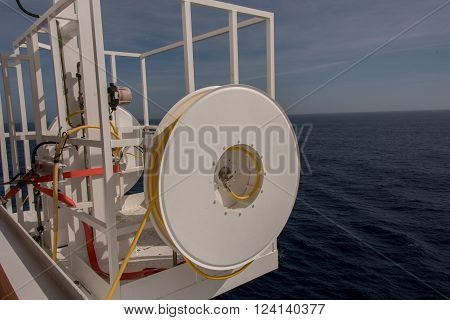 winch located on the stern of the ship