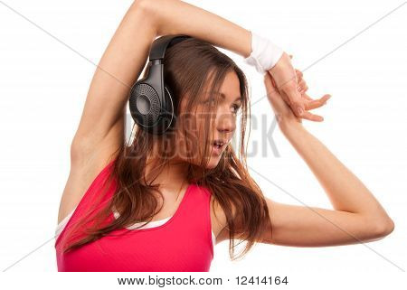 Pretty Fitness Brunette Woman Listening Music