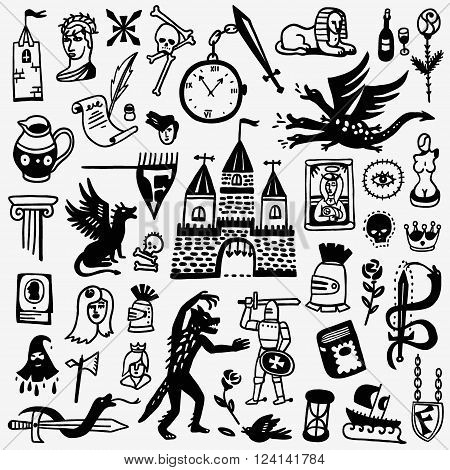 History - set icons in graphic style , design elements