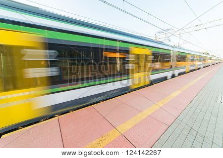 express train in motion - blurred vehicle.