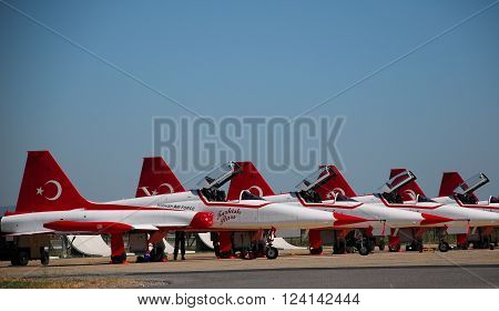 IZMIR/TURKEY-JUNE 5, 2011 : Turkish Air Force (TURAF) Turkish Stars Display Team Lined Up at 2nd Main Jet Base-Cigli for Airshow. June 5, 2011-Izmir/Turkey