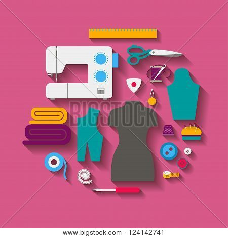 Concept set for sewing with a sewing machine, a mannequin, sewing accessories, with diagonal shadows. Vector illustration
