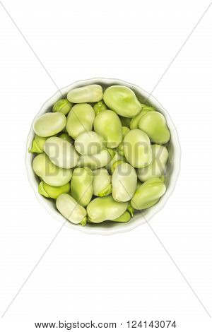 Fresh broad beans in a ceramic pot isolated on white ** Note: Soft Focus at 100%, best at smaller sizes