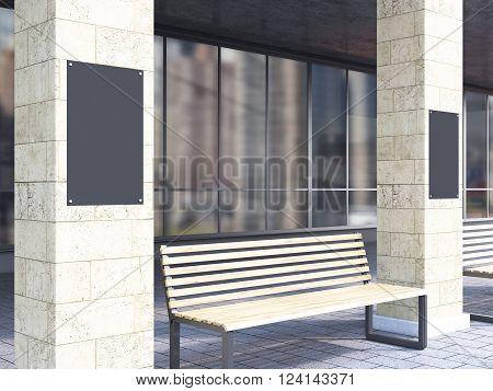 Bench Between Columns