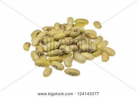 Yellow Giallorino beans pile isolated on white background