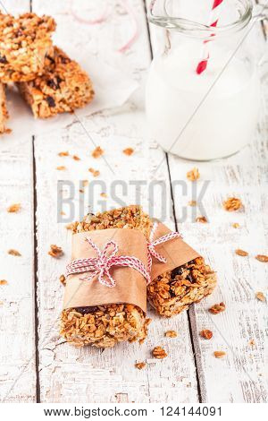 homemade protein granola bars with nuts raisins and dried cherries