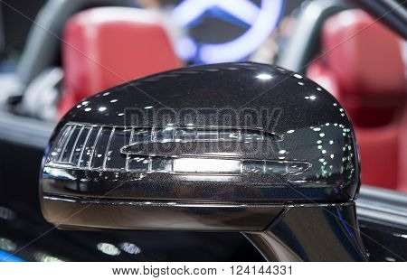 Bangkok - March 22 : wing mirror of black Benz series SLK 200 - in display at The 37th Bangkok international Motor Show 2016 on March 22, 2016 in Bangkok Thailand