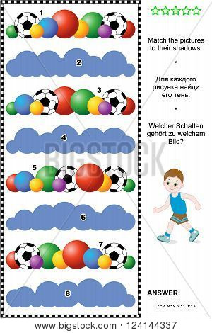 Sports, soccer or football themed visual puzzle or picture riddle: Match the pictures of balls rows to their shadows. Answer included.