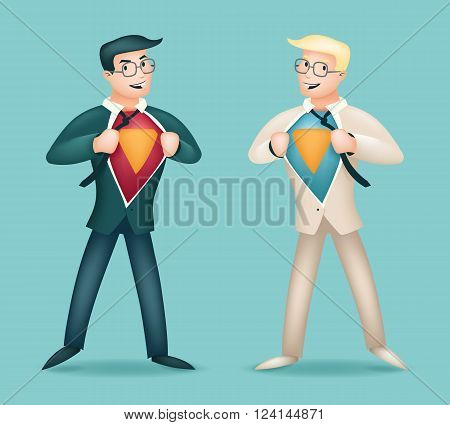 Superhero Suit under Shirt Happy Smiling Businessman Turns in Icon Stylish Background Retro Cartoon Design Vector Illustration