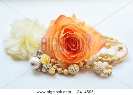 8 Marta, International Women's Day, composition Vintage style beads and rose flowers